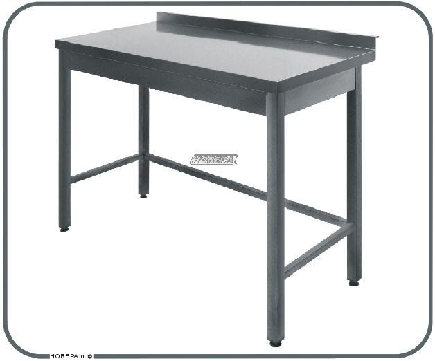 RVS tafel met kunsstof graniet marmer hout blad